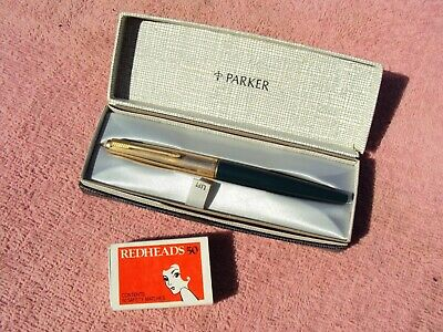 """PARKER"" CASED FOUNTAIN PEN 1960s ERA ROLLED GOLD FITTINGS, INK & INSTRUCTIONS"