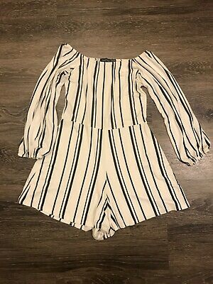 Boo-Hoo Women's Selena Striped Off The Shoulder PlaySuit Black White US 6/UK 10