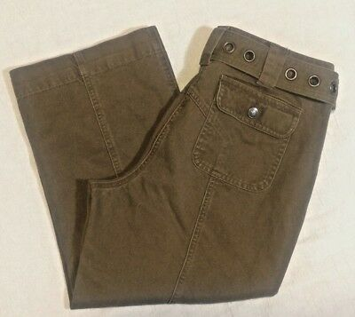 Liz Claiborne 6 Petite Womens Capri cropped Pants Michaela belt button fly brown