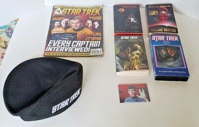 Star Trek Lot 3 Books 1 Magazine 1 Vhs 1 Magnet 1 Hat