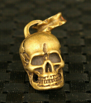 rare chinese old copper skull head statue pendant netsuke