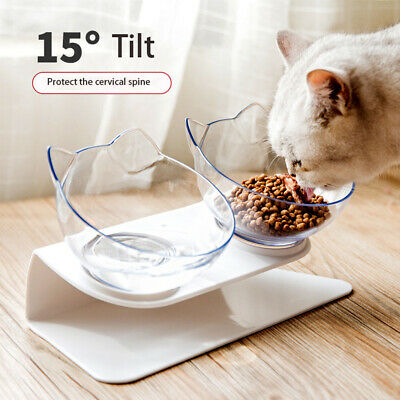 Pet Food Double Bowl Stand Cat Dog Dual Water Feeding Bowl 15° Tilt Design Dish