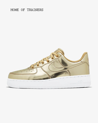 Nike Air Force 1 SP Metallic Gold White Club Girls Women's Trainers All Sizes
