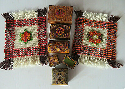 POLISH FOLK ART - Handcrafted Wooden Boxes & Handwoven/Embroidered Mats