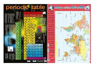 Periodic Table 2019 + Map of The World- 2 Poster set  Educational - Chart media