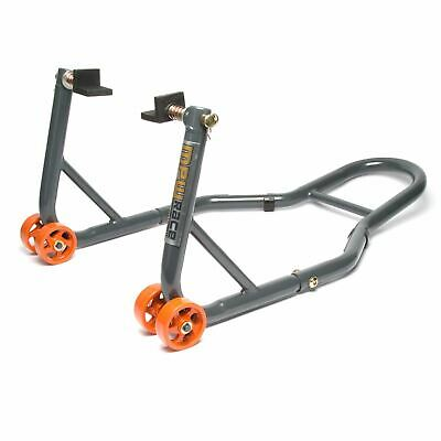 MPW Race Dept - Motorcycle Rear Padock Stand with L-Adapters in Grey/Orange