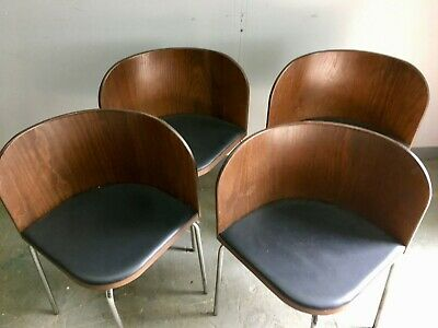 Mid-Century Style Dining Chairs. Four unusual curved vintage seats. Retro G Plan