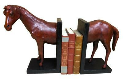 Handmade Leather Bookends in the form of a Horse - 34cm High