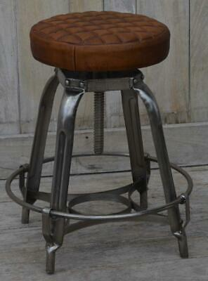 Industrial Style Metal Stool Cushioned Quilted Leather Stool - Height Adjustable