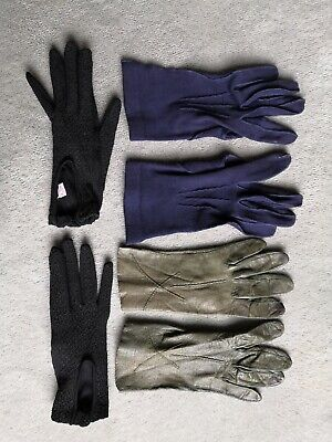 Vintage Ladies Gloves 3 Pairs Size Small Green Leather Navy Fabric Black Stretch