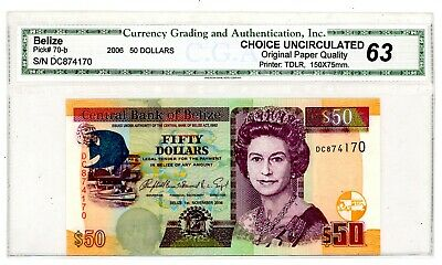 Belize ... P-70b ... 50 Dollars ... 2006 ... Choice *UNC*.