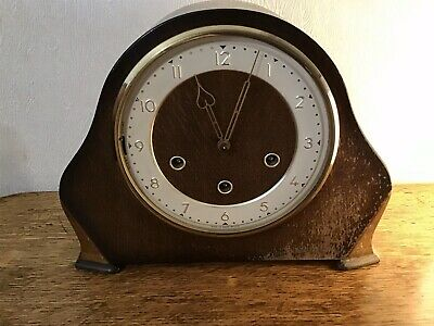 Vintage Wooden Mantle Clock. (Wound Mechanism). Smiths English Clocks. (no Glass