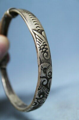 Collectable Handwork Miao Silver Carved Pattern Auspicious Ancient Rare Bracelet