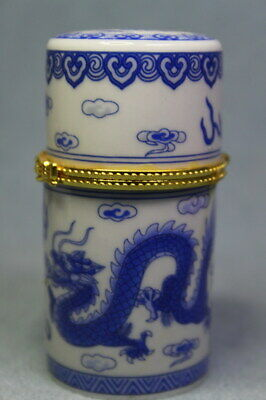 Handwork Decor Auspicious Porcelain Painting Blue Dragon Exquisite Toothpick Box