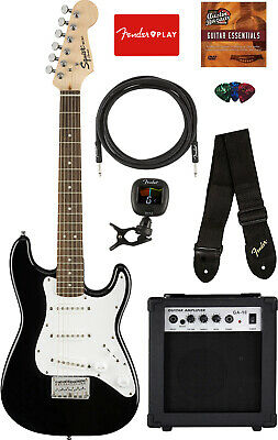 Fender Squier Mini Strat Electric Guitar - Black w/ Amplifier