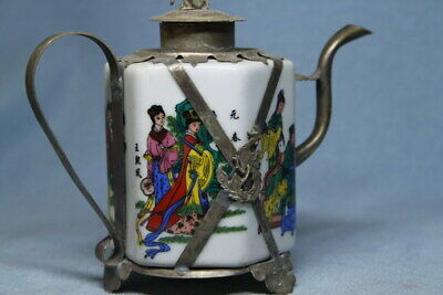Collectable Miao Silver & Porcelain Painting Beauty Auspicious Elegant Teapot