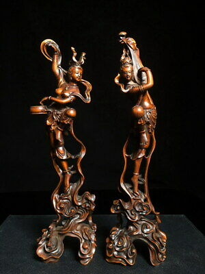 Collectable Boxwood Carving Two Fairies Came Down Earth Exquisite Noble Statue