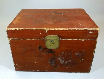 Antique Chinese Lacquered Wood Tea Box w/ Birds Flowers Hinged Lid 1800's China