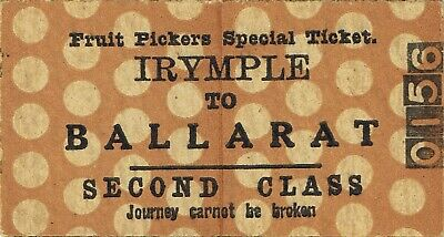 Railway tickets VR Irymple to Ballarat fruit picker second class single unused