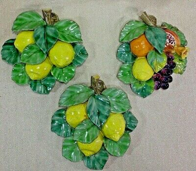 Vietri Lemon and Fruit Bunch Clay Wall Hanging Plaque Made In Italy SET OF 3!