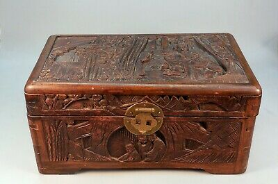 Antique 1880-1890 Chinese Deeply Carved Wood Document Box Jewelry 19th Century