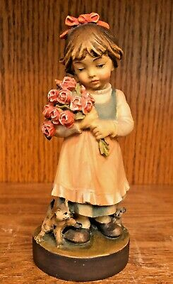 Vintage Hand Carved Wood Figurine Girl w/ Roses Cat & Mouse Oberammergau Germany
