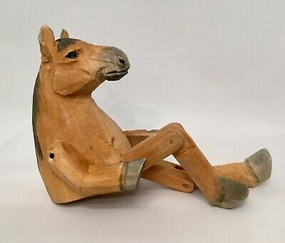 Folk Art Carved Wooden Wood Jointed Horse Toy Figurine