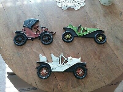 3 antique old vintage cast iron wall hanging cars automobiles decorative