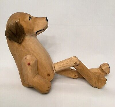 Folk Art Carved Wooden Wood Jointed Dog Puppy Toy Figurine
