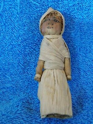 Vintage Folk Art Corn Husk Doll 4""