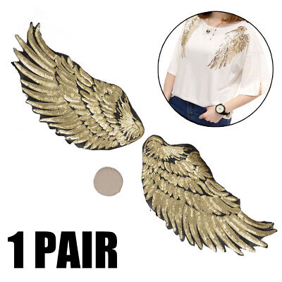 2pcs Embroidered Iron Sew on Patches Sequins Angel Wing Clothing DIY Applique