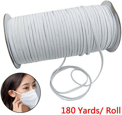 200 Yards 6mm Flat Elastic Band Briaded Knit String Cord Rope for Sewing Crafts