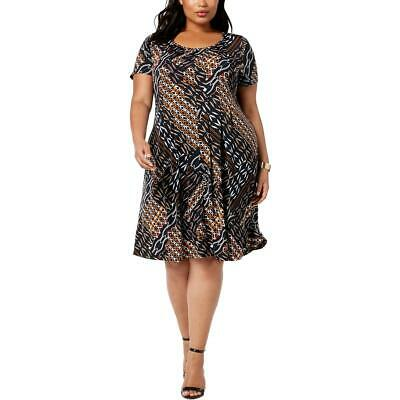 NY Collection Womens Black Printed Knit Petites Shift Dress Plus 3XP BHFO 9764