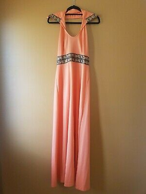 Princess Vintage Womens 70s orange maxi dress sz 14 vgc