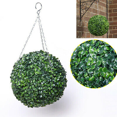 Hanging Buxus Leaf Ball Topiary Artificial Plant Green Boxwood Home Garden Decor