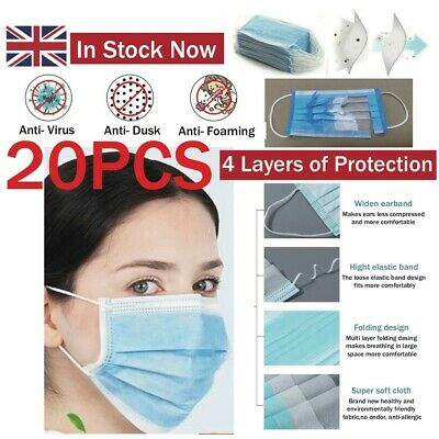 20 X 4 Ply Face Protect things Adjustable Germs Comfort Medical