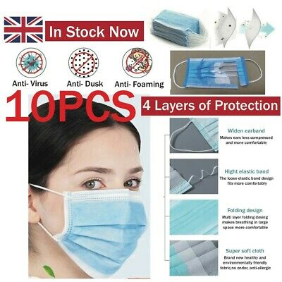 10 X 4 Ply Face Protect things Adjustable Germs Comfort Medical
