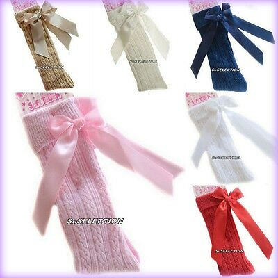 Girls & Toddler Bow Ribbon Socks 18 M'th-2/6 Years-White/Red/Navy/Beige/Pink-New
