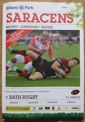 SARACENS RUGBY-Hand Signed-2 Legends-Match Day Programme v Bath-2013-With COA