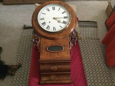 Antique Anglo American Walnut Case 8 Day Strike On Bell Wall Clock