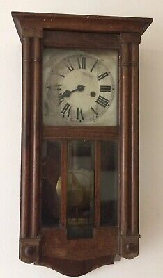 ANTIQUE H. A. C striking  GERMAN WALL CLOCK DARK OAK SPARES AND REPAIRS