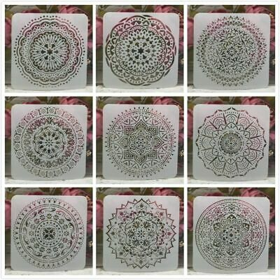New 9Pcs/Lot DIY Mandala Layering Stencils Round Geometry Painting Scrapbooking