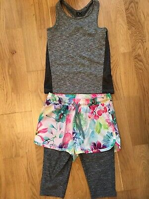 Next Gym Work Out Zumba Keep Fit Exercise Vest & Shorts Leggings Age 5-6 Unworn