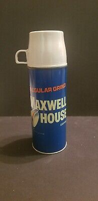 """Maxwell House Regular Grind Coffee Thermos 1965  10""""Tall Holds 3 Cups"""