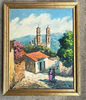Mexican Impressionist 1960s Oil Painting - Listed Artist Reynaldo Maya of Taxco