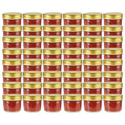 vidaXL 48x Glass Jam Jars with Gold Lid 110ml Clean Preserving Containers#