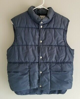 Vintage 1980's Woolrich Puffy Puffer Vest Down Filled Button Blue Mens M / L