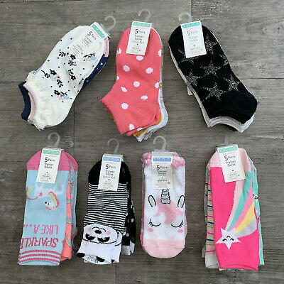5 x Pairs Girls Primark Unicorn Panda Stars Floral Trainer Socks