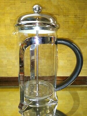 Chrome 1L Pyrex Glass Classic Cafetiere. Coffee/Tea/other infusions Black Handle