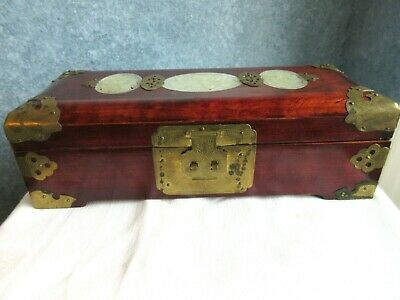 Vintage Chinese Rose Wood Jewelry box with Carved Jade and Brass Shanghai China